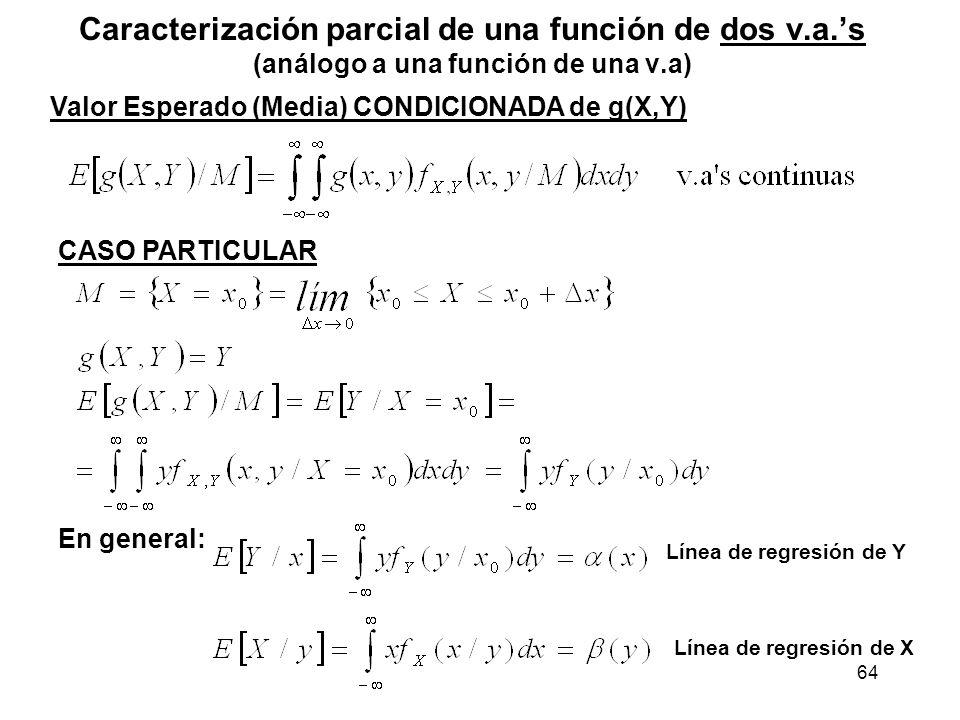 64 Caracterización parcial de una función de dos v.a.s (análogo a una función de una v.a) Valor Esperado (Media) CONDICIONADA de g(X,Y) CASO PARTICULA