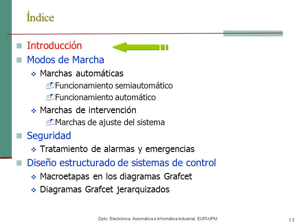 Dpto. Electrónica, Automática e Informática Industrial, EUITI-UPM 1.3 Índice Introducción Modos de Marcha Marchas automáticas -Funcionamiento semiauto