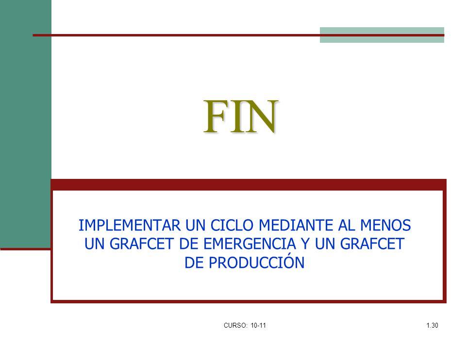 CURSO: 10-111.30 FIN IMPLEMENTAR UN CICLO MEDIANTE AL MENOS UN GRAFCET DE EMERGENCIA Y UN GRAFCET DE PRODUCCIÓN