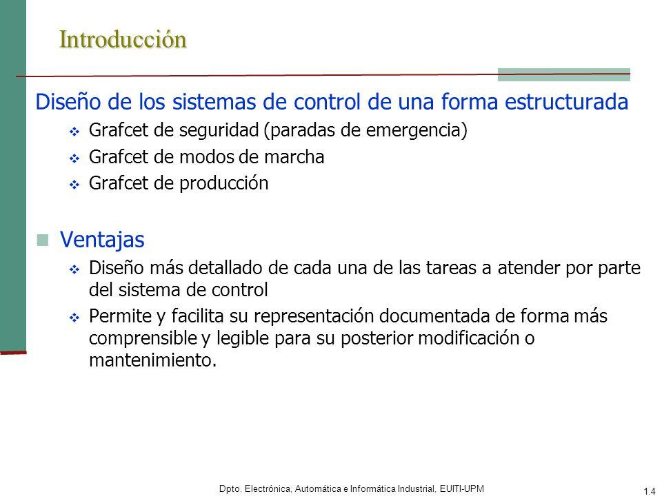 Dpto. Electrónica, Automática e Informática Industrial, EUITI-UPM 1.4 Introducción Diseño de los sistemas de control de una forma estructurada Grafcet