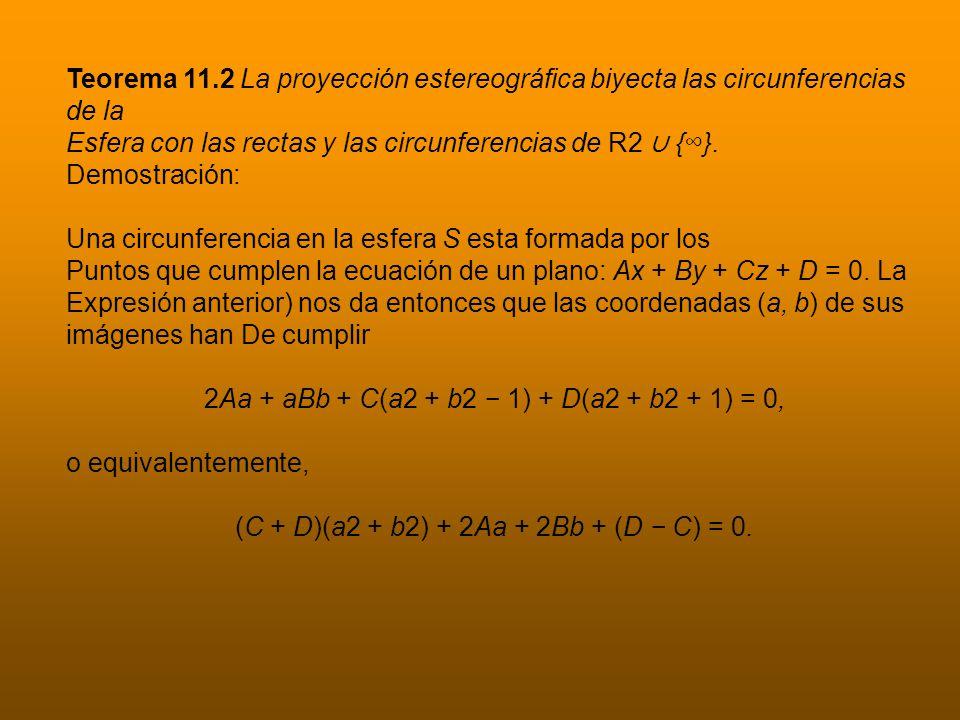 Teorema 11.2 La proyección estereográfica biyecta las circunferencias de la Esfera con las rectas y las circunferencias de R2 {}.