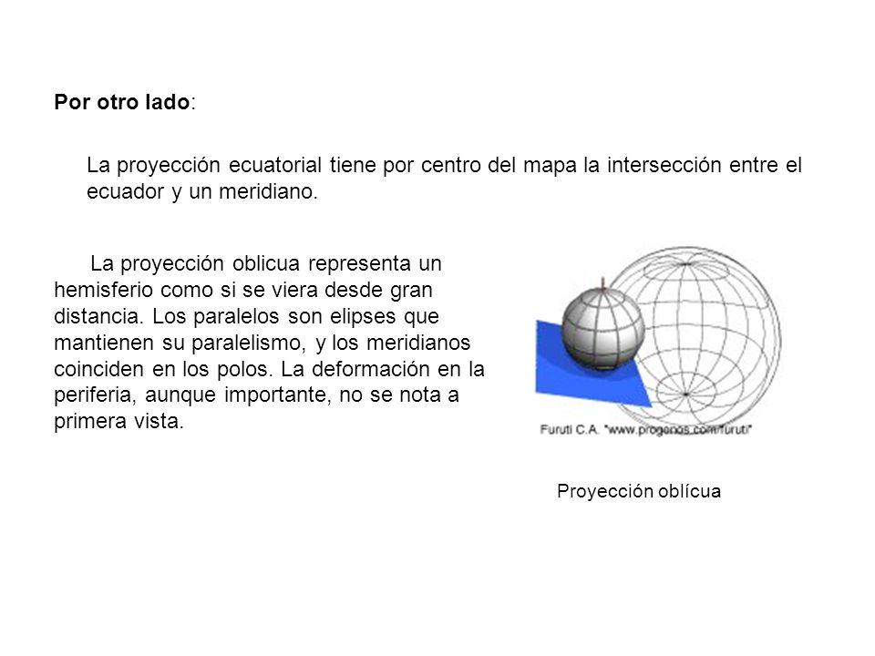 Por otro lado: La proyección ecuatorial tiene por centro del mapa la intersección entre el ecuador y un meridiano. La proyección oblicua representa un