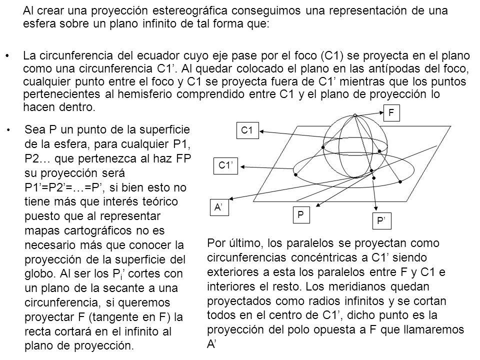 Al crear una proyección estereográfica conseguimos una representación de una esfera sobre un plano infinito de tal forma que: La circunferencia del ec