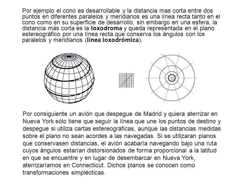 Por ejemplo el cono es desarrollable y la distancia mas corta entre dos puntos en diferentes paralelos y meridianos es una línea recta tanto en el con