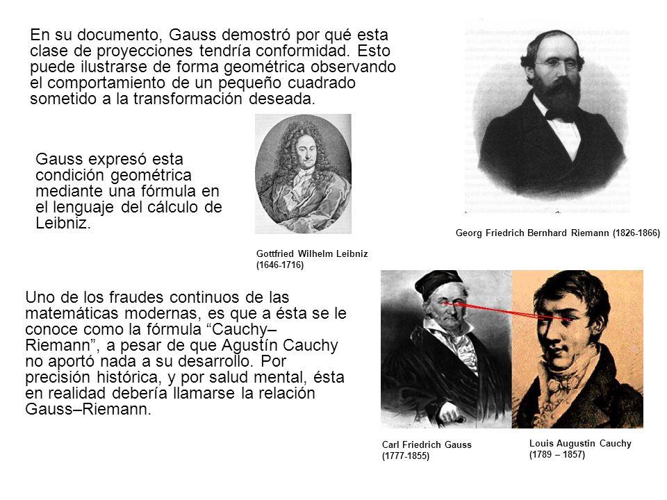 Georg Friedrich Bernhard Riemann (1826-1866) Gottfried Wilhelm Leibniz (1646-1716) Louis Augustin Cauchy (1789 – 1857) En su documento, Gauss demostró