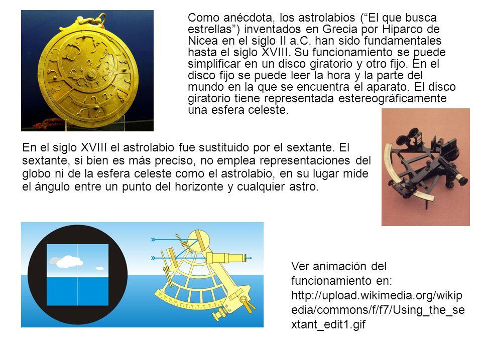 Como anécdota, los astrolabios (El que busca estrellas) inventados en Grecia por Hiparco de Nicea en el siglo II a.C. han sido fundamentales hasta el