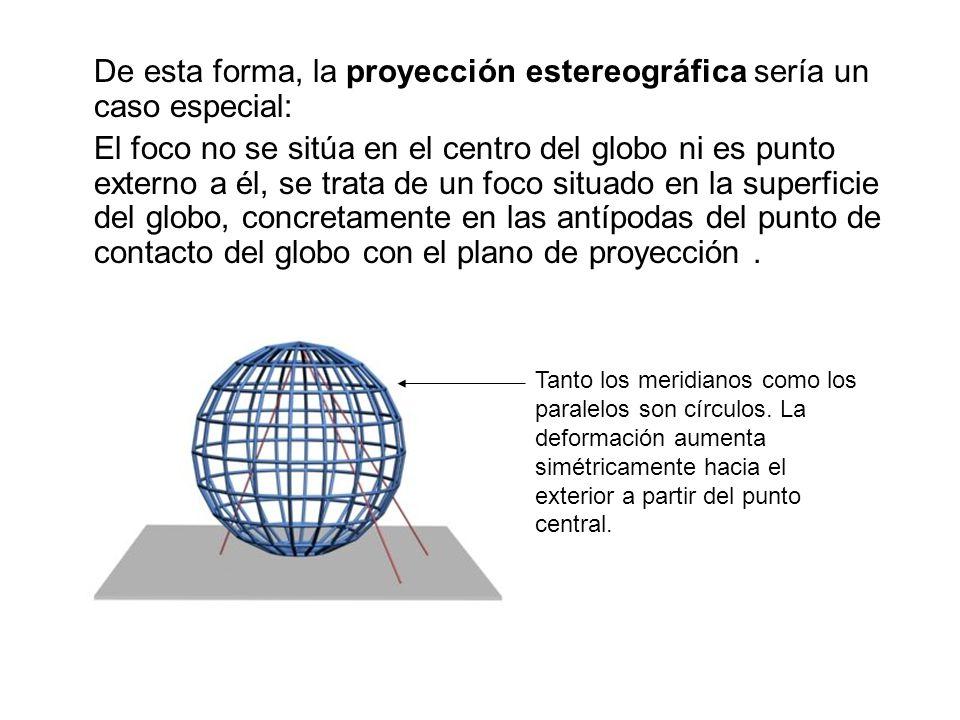 De esta forma, la proyección estereográfica sería un caso especial: El foco no se sitúa en el centro del globo ni es punto externo a él, se trata de u