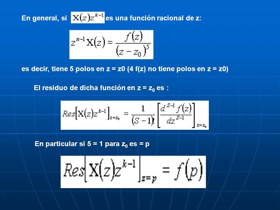 En general, si es una función racional de z: es decir, tiene 5 polos en z = z0 (4 f(z) no tiene polos en z = z0) El residuo de dicha función en z = z