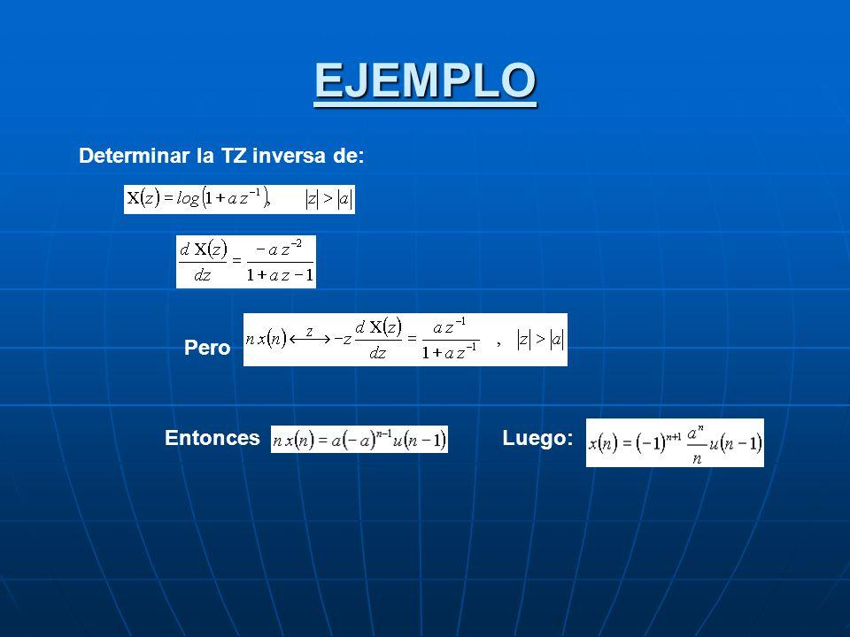 EJEMPLO Determinar la TZ inversa de: Pero Entonces Luego: