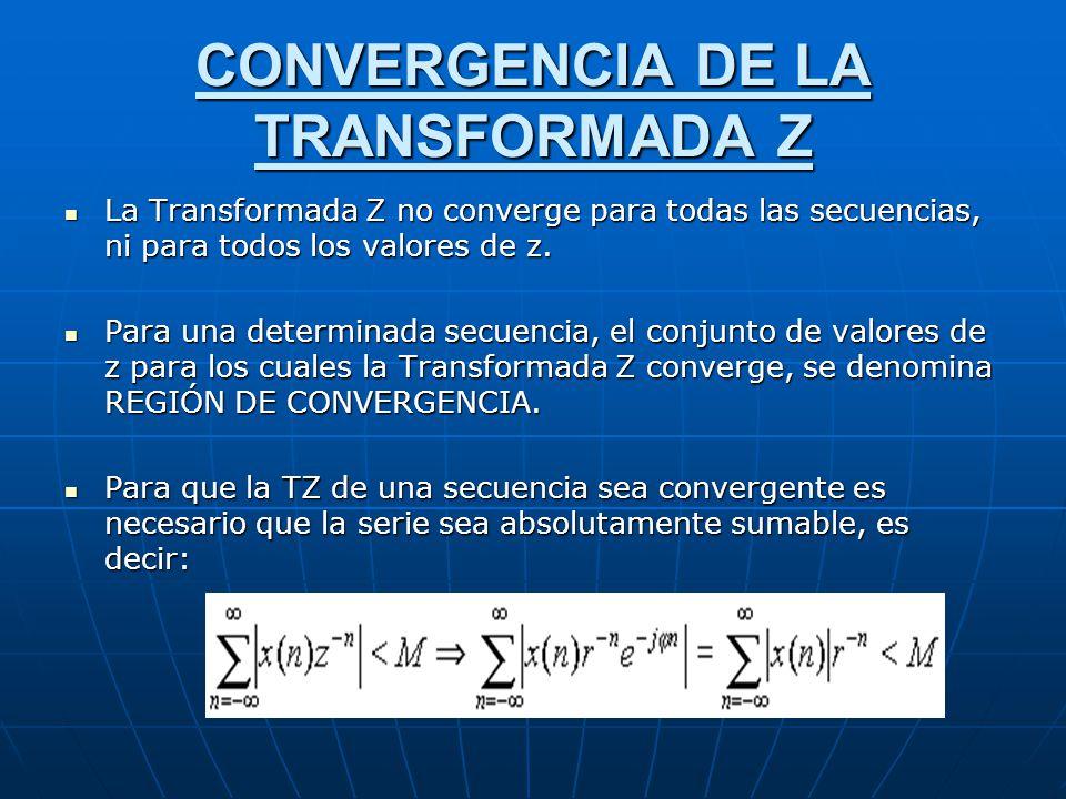 CONVERGENCIA DE LA TRANSFORMADA Z La Transformada Z no converge para todas las secuencias, ni para todos los valores de z. La Transformada Z no conver