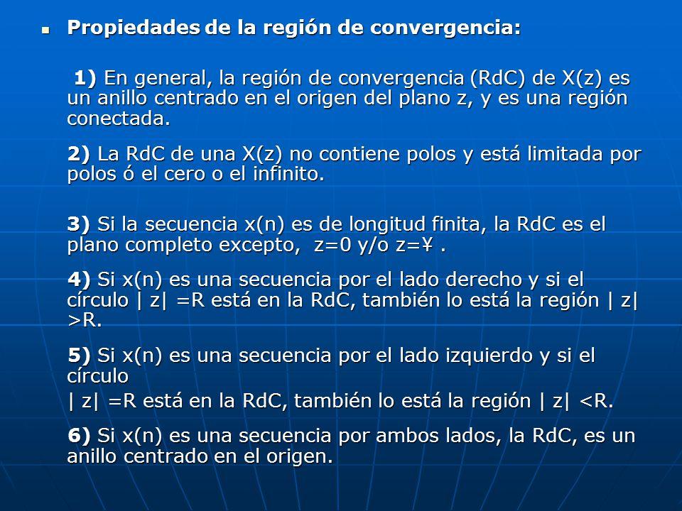Propiedades de la región de convergencia: Propiedades de la región de convergencia: 1) En general, la región de convergencia (RdC) de X(z) es un anill