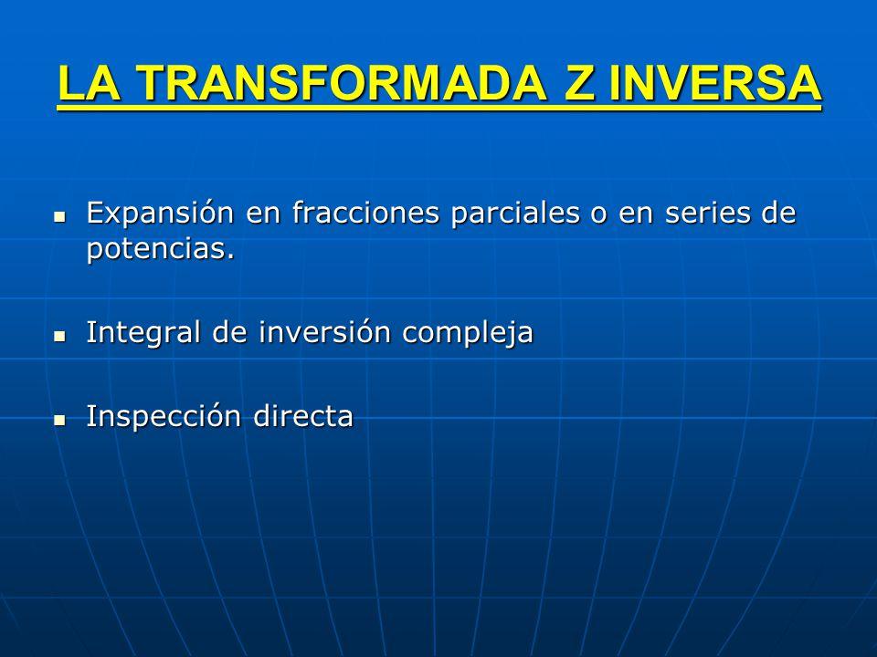 LA TRANSFORMADA Z INVERSA Expansión en fracciones parciales o en series de potencias. Expansión en fracciones parciales o en series de potencias. Inte