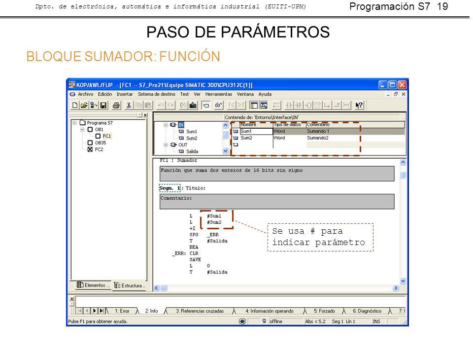 Programación S7 19 Dpto. de electrónica, automática e informática industrial (EUITI-UPM) PASO DE PARÁMETROS BLOQUE SUMADOR: FUNCIÓN Se usa # para indi