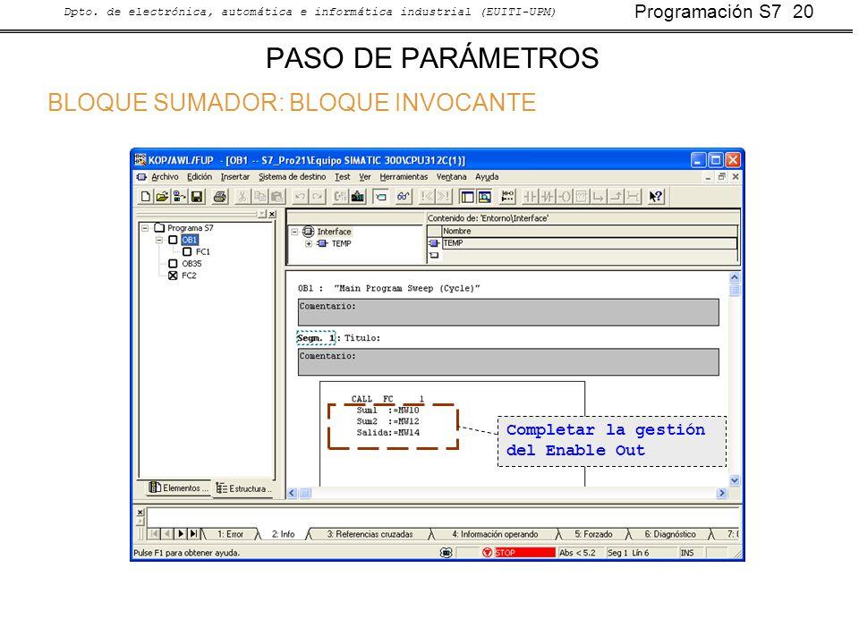 Programación S7 20 Dpto. de electrónica, automática e informática industrial (EUITI-UPM) PASO DE PARÁMETROS BLOQUE SUMADOR: BLOQUE INVOCANTE Completar