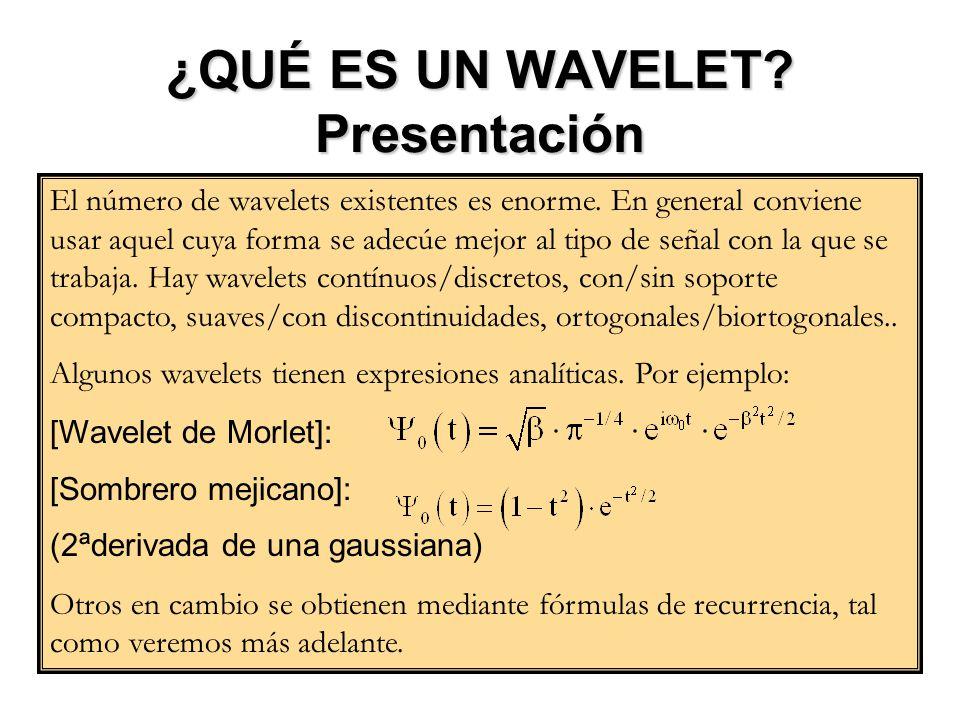 ¿QUÉ ES UN WAVELET? Presentación El número de wavelets existentes es enorme. En general conviene usar aquel cuya forma se adecúe mejor al tipo de seña