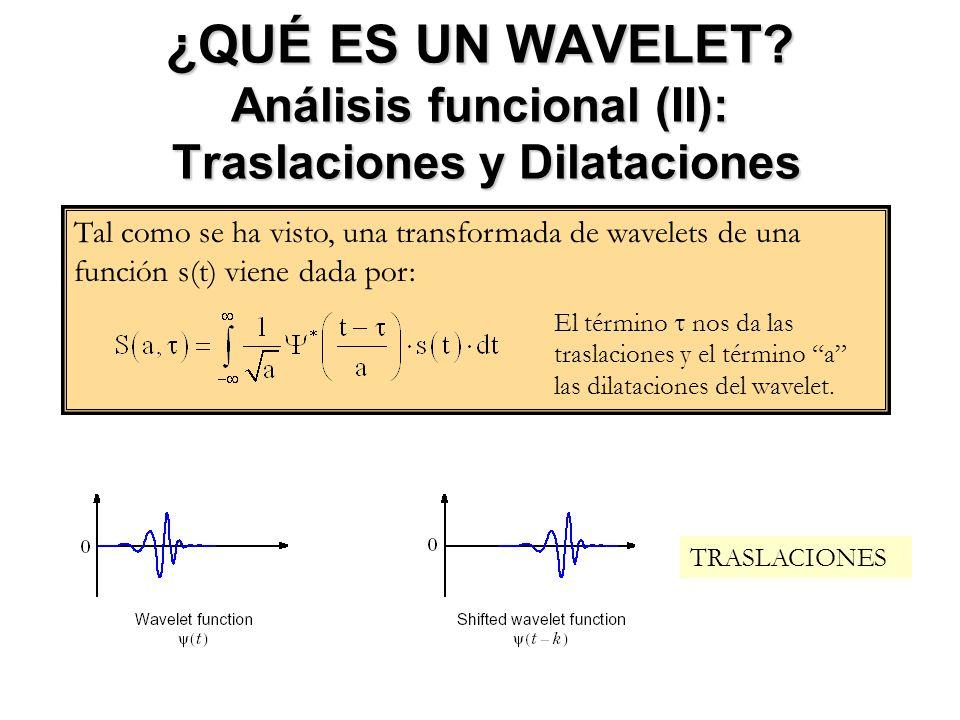 ¿QUÉ ES UN WAVELET? Análisis funcional (II): Traslaciones y Dilataciones Tal como se ha visto, una transformada de wavelets de una función s(t) viene
