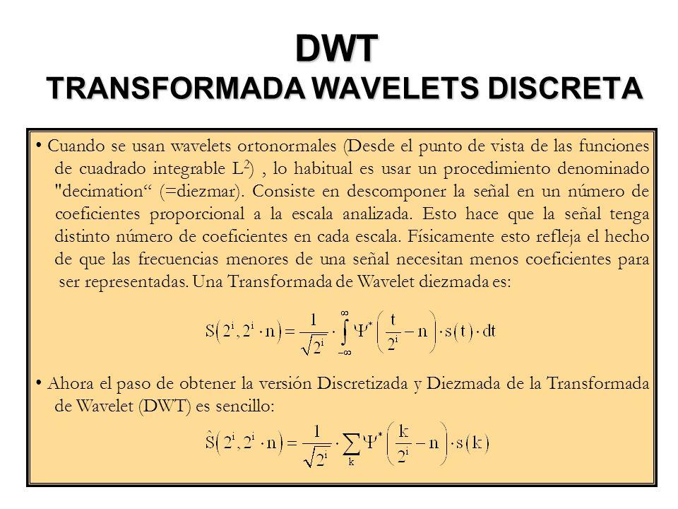DWT TRANSFORMADA WAVELETS DISCRETA Cuando se usan wavelets ortonormales (Desde el punto de vista de las funciones de cuadrado integrable L 2 ), lo hab