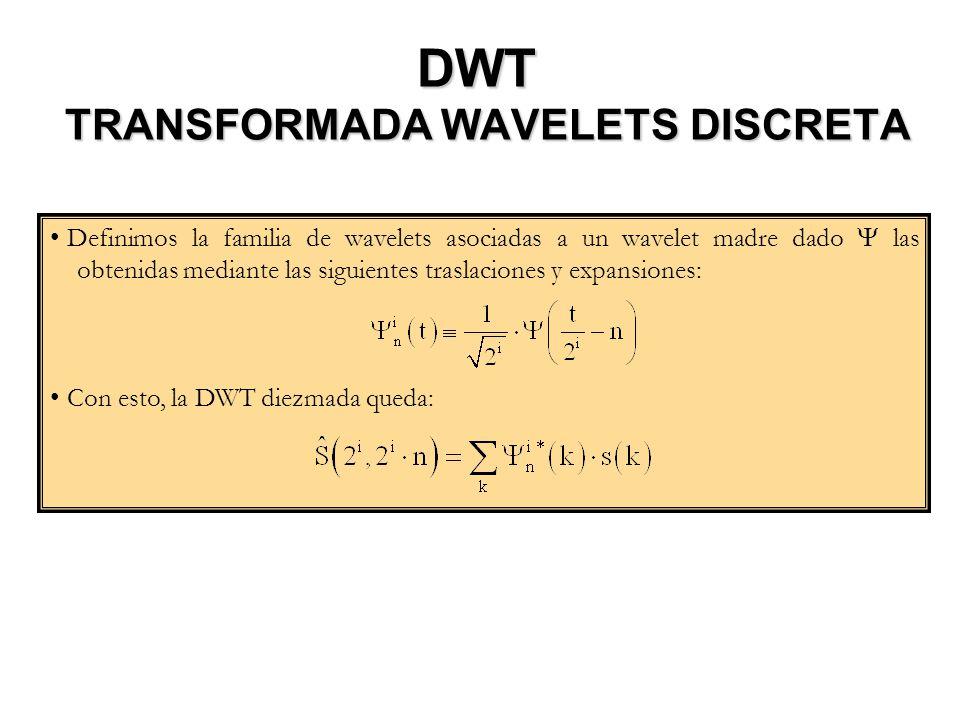 DWT TRANSFORMADA WAVELETS DISCRETA Definimos la familia de wavelets asociadas a un wavelet madre dado las obtenidas mediante las siguientes traslacion