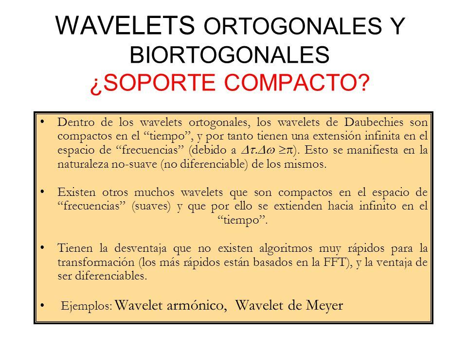 Dentro de los wavelets ortogonales, los wavelets de Daubechies son compactos en el tiempo, y por tanto tienen una extensión infinita en el espacio de