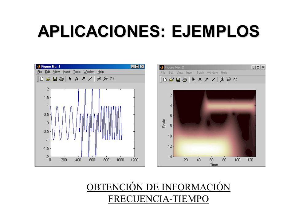 APLICACIONES: EJEMPLOS OBTENCIÓN DE INFORMACIÓN FRECUENCIA-TIEMPO
