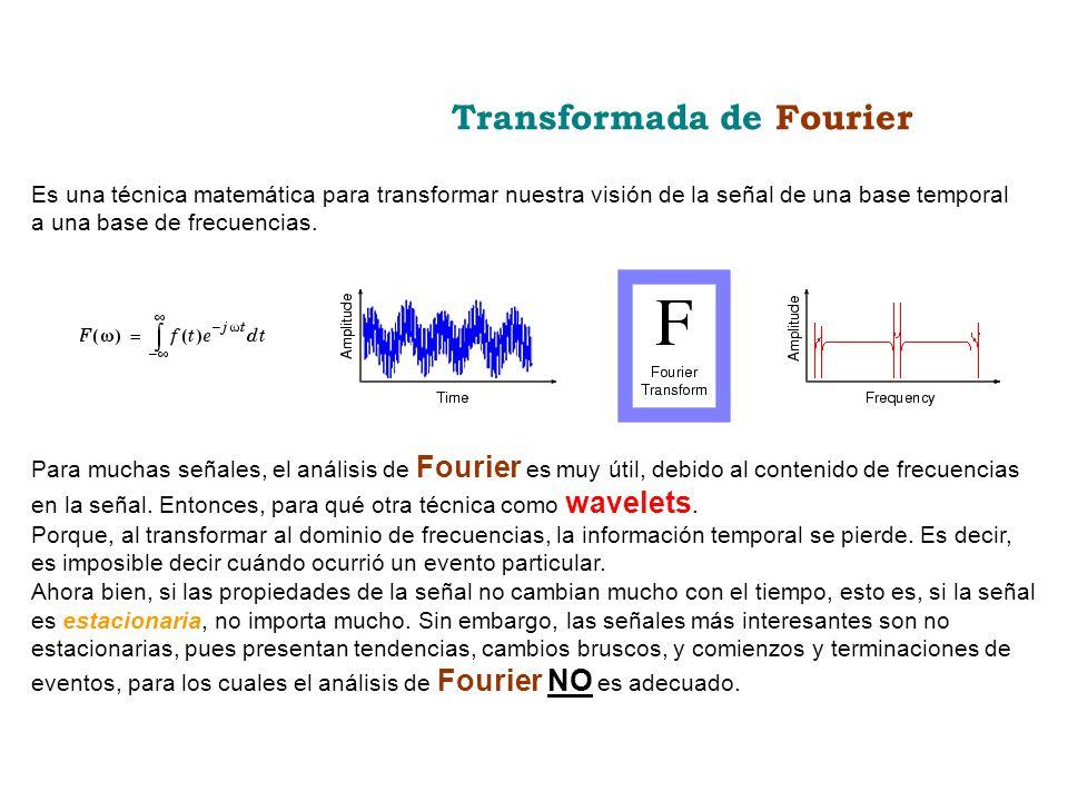 Es una técnica matemática para transformar nuestra visión de la señal de una base temporal a una base de frecuencias. Transformada de Fourier Para muc
