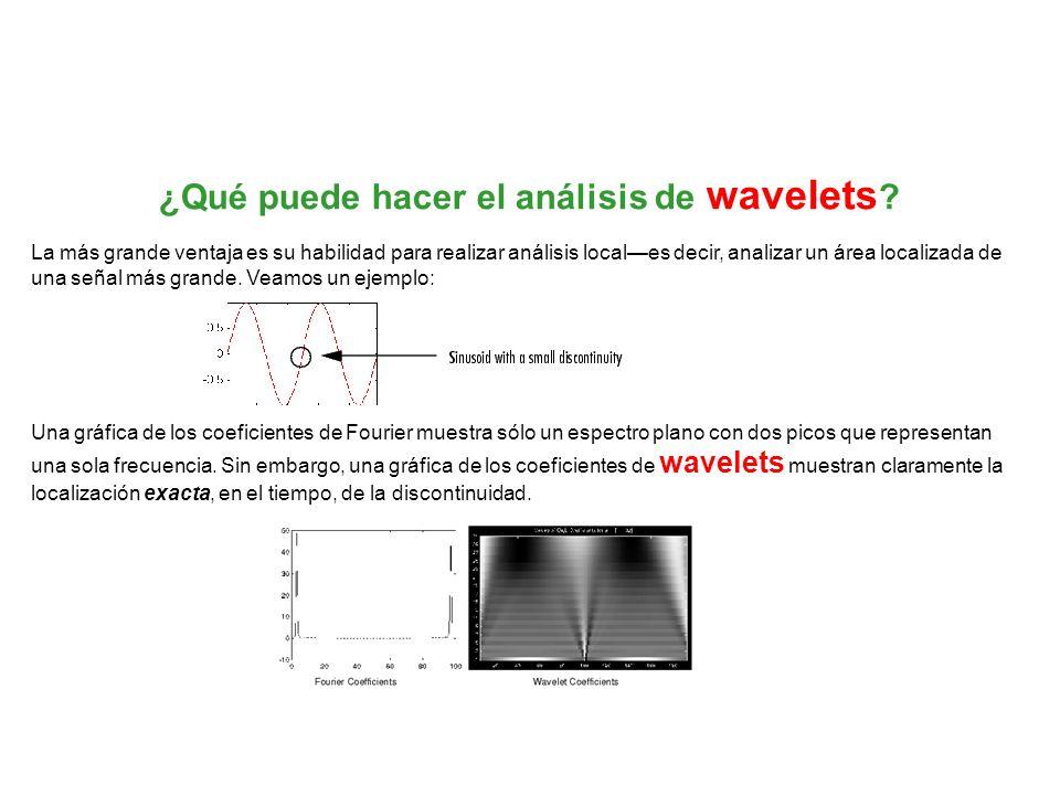 ¿Qué puede hacer el análisis de wavelets ? La más grande ventaja es su habilidad para realizar análisis locales decir, analizar un área localizada de