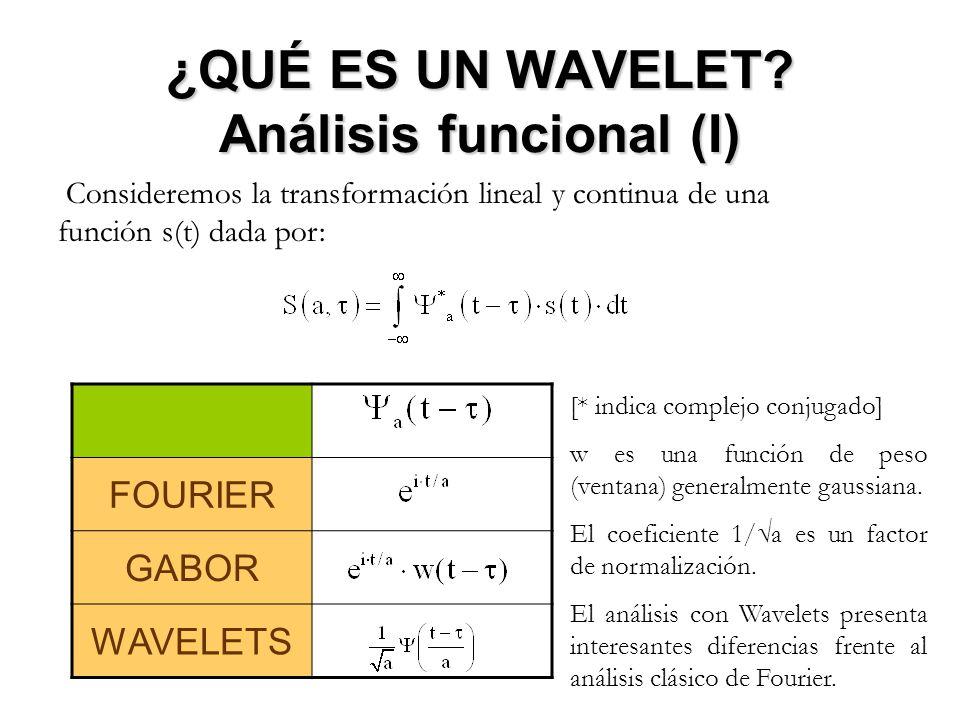 ¿QUÉ ES UN WAVELET? Análisis funcional (I) Consideremos la transformación lineal y continua de una función s(t) dada por: FOURIER GABOR WAVELETS [* in