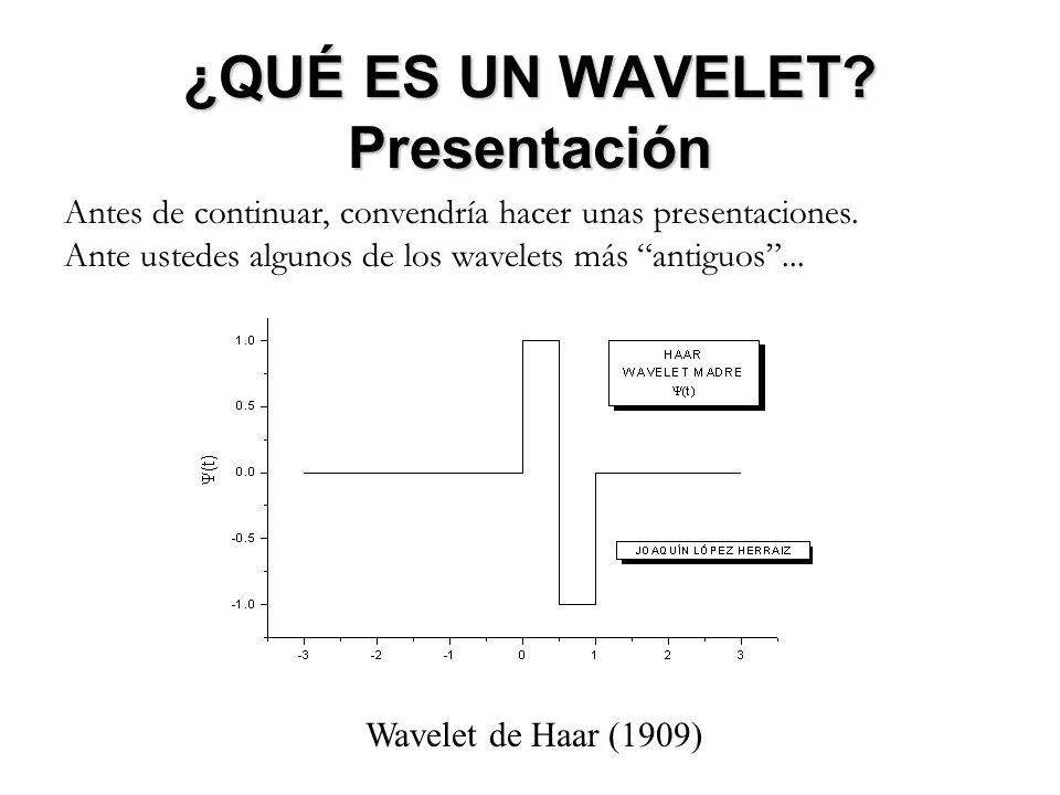 ¿QUÉ ES UN WAVELET? Presentación Antes de continuar, convendría hacer unas presentaciones. Ante ustedes algunos de los wavelets más antiguos... Wavele
