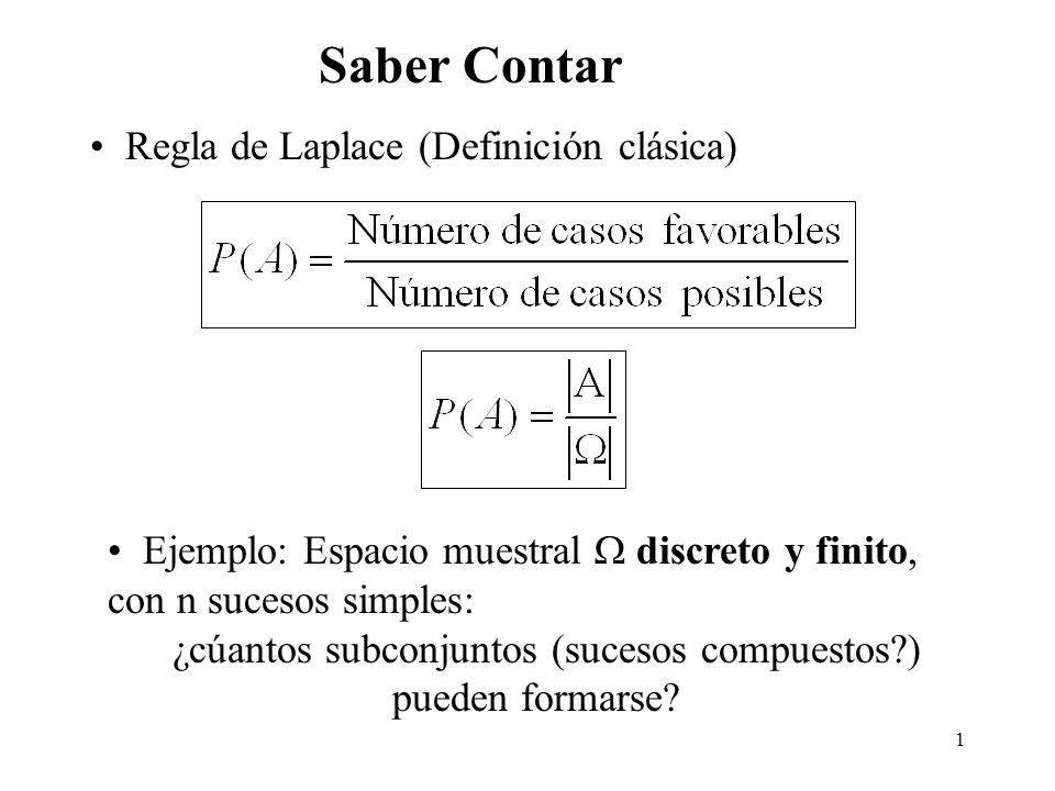 1 Saber Contar Regla de Laplace (Definición clásica) Ejemplo: Espacio muestral discreto y finito, con n sucesos simples: ¿cúantos subconjuntos (sucesos compuestos?) pueden formarse?