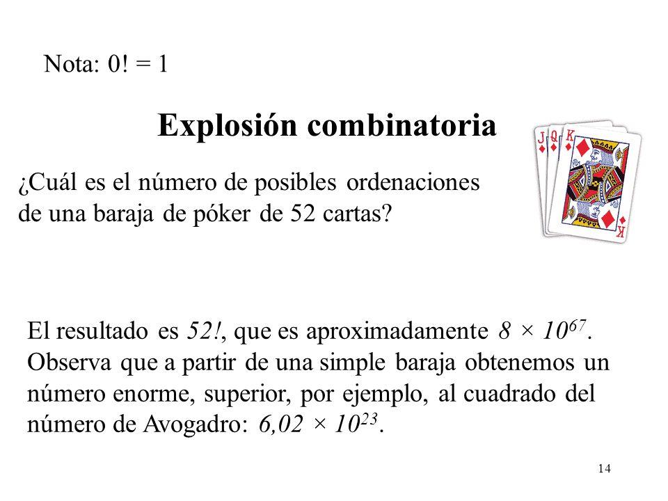 14 ¿Cuál es el número de posibles ordenaciones de una baraja de póker de 52 cartas.