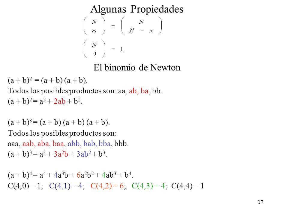 17 Algunas Propiedades El binomio de Newton (a + b) 2 = (a + b) (a + b).