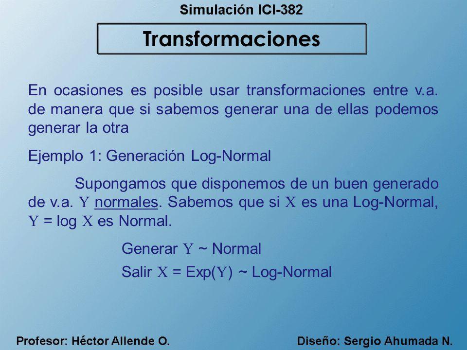 En ocasiones es posible usar transformaciones entre v.a. de manera que si sabemos generar una de ellas podemos generar la otra Ejemplo 1: Generación L