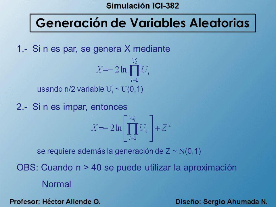 1.- Si n es par, se genera X mediante 2.- Si n es impar, entonces OBS: Cuando n > 40 se puede utilizar la aproximación Normal usando n/2 variable U i