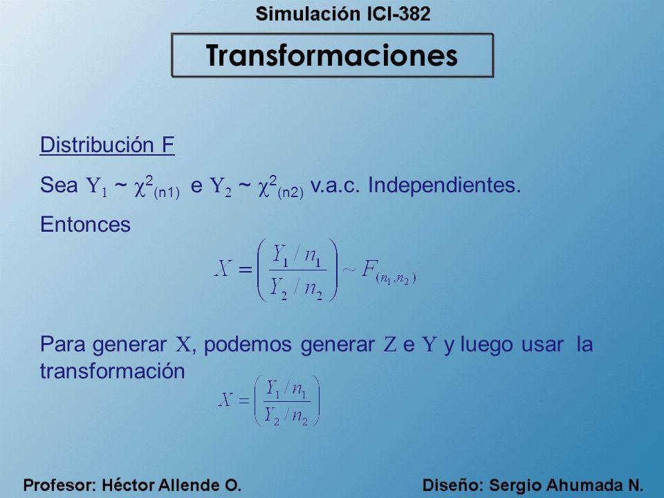 Distribución F Sea Y 1 ~ 2 (n1) e Y 2 ~ 2 (n2) v.a.c. Independientes. Entonces Para generar X, podemos generar Z e Y y luego usar la transformación Tr