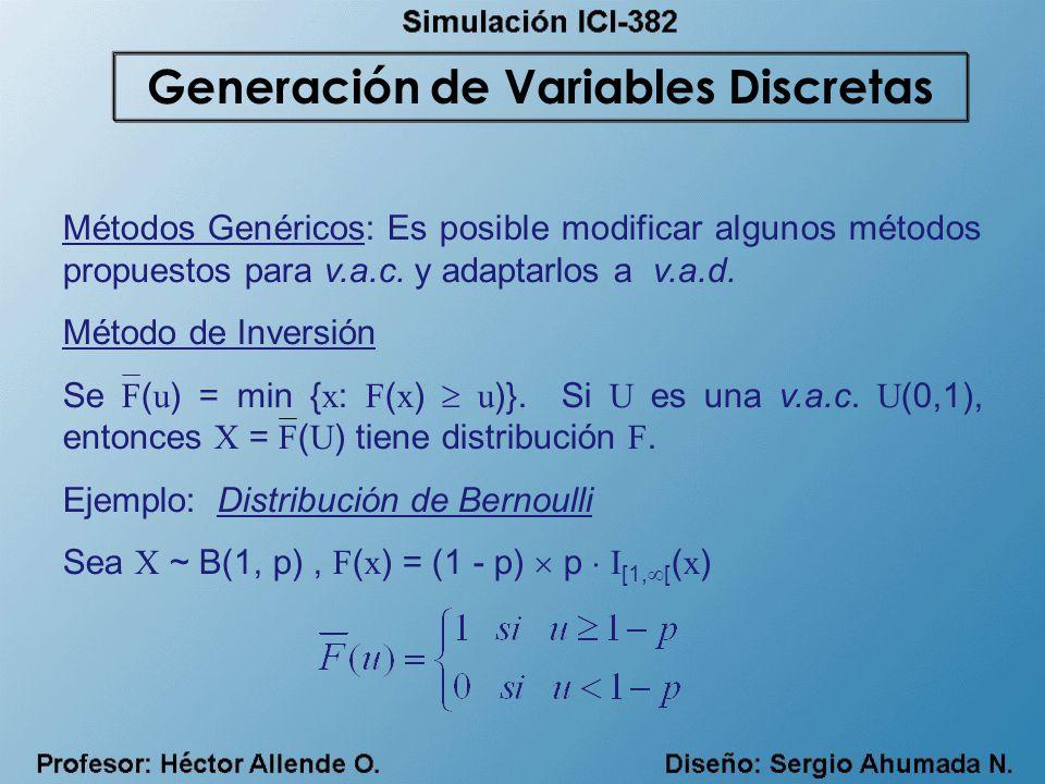 Métodos Genéricos: Es posible modificar algunos métodos propuestos para v.a.c. y adaptarlos a v.a.d. Método de Inversión Se F ( u ) = min { x : F ( x