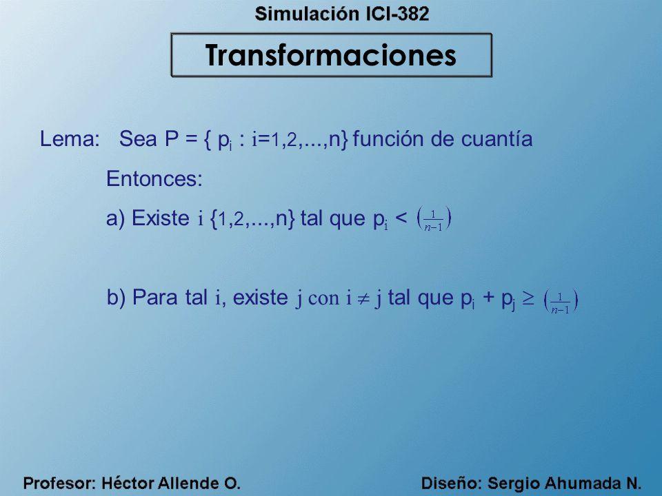Lema: Sea P = { p i : i = 1, 2,...,n} función de cuantía Entonces: a) Existe i { 1, 2,...,n} tal que p i < b) Para tal i, existe j con i j tal que p i