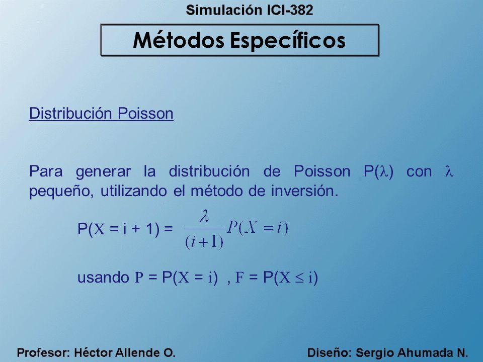 Distribución Poisson Para generar la distribución de Poisson P( ) con pequeño, utilizando el método de inversión. P( X = i + 1) = usando P = P( X = i
