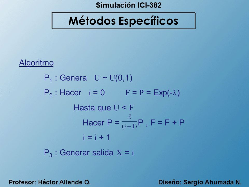 Algoritmo P 1 : Genera U ~ U (0,1) P 2 : Hacer i = 0 F = P = Exp(- ) Hasta que U < F Hacer P = P, F = F + P i = i + 1 P 3 : Generar salida X = i Métod