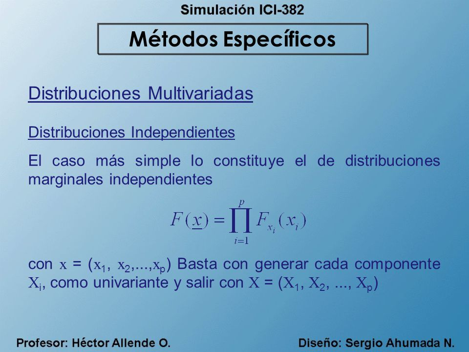 Distribuciones Multivariadas Distribuciones Independientes El caso más simple lo constituye el de distribuciones marginales independientes con x = ( x