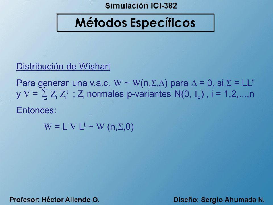 Distribución de Wishart Para generar una v.a.c. W ~ W (n,, ) para = 0, si = LL t y V = Z i Z i t ; Z i normales p-variantes N(0, I p ), i = 1,2,...,n
