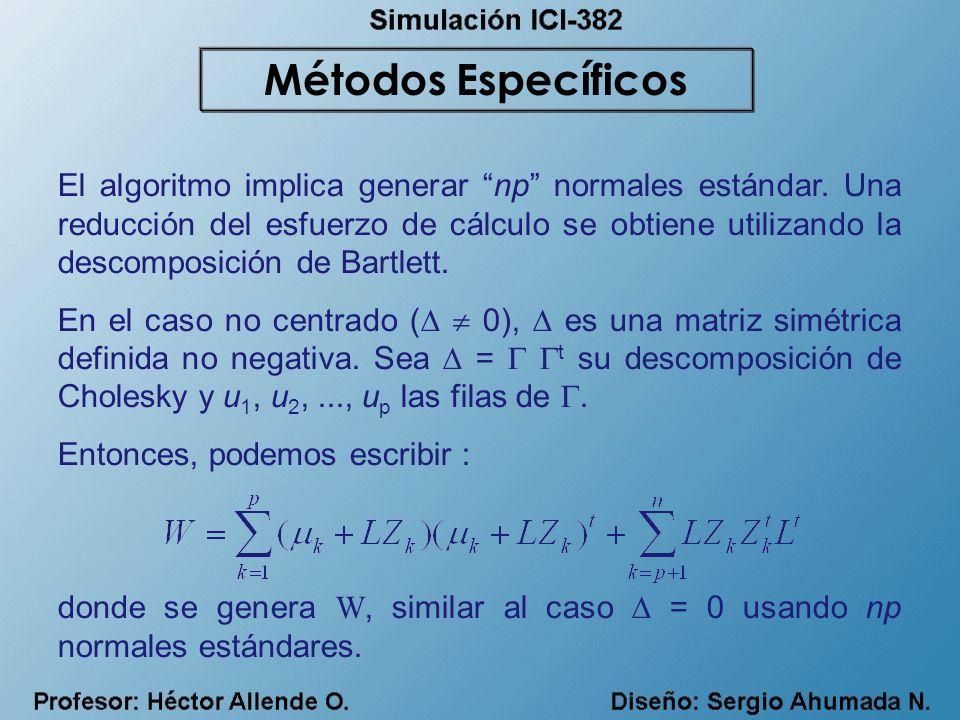 El algoritmo implica generar np normales estándar. Una reducción del esfuerzo de cálculo se obtiene utilizando la descomposición de Bartlett. En el ca