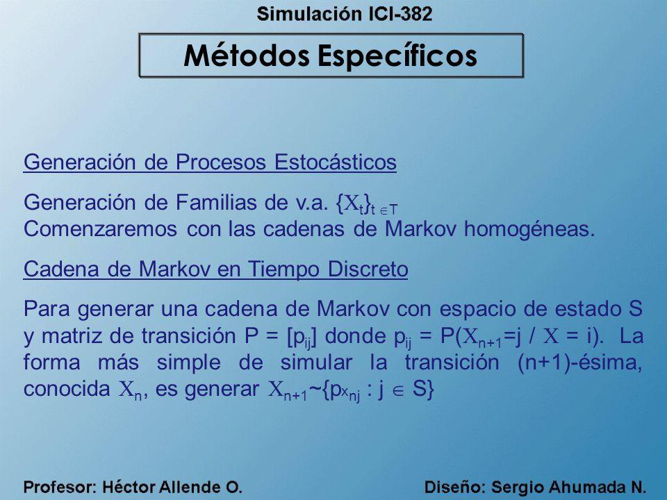 Generación de Procesos Estocásticos Generación de Familias de v.a. { X t } t T Comenzaremos con las cadenas de Markov homogéneas. Cadena de Markov en