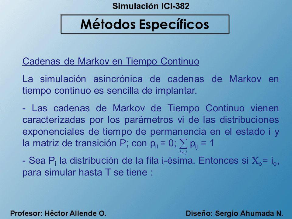 Cadenas de Markov en Tiempo Continuo La simulación asincrónica de cadenas de Markov en tiempo continuo es sencilla de implantar. - Las cadenas de Mark