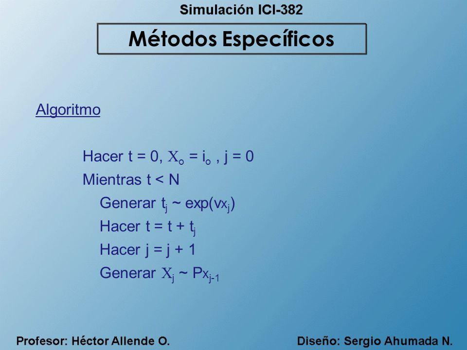 Algoritmo Hacer t = 0, X o = i o, j = 0 Mientras t < N Generar t j ~ exp(v x j ) Hacer t = t + t j Hacer j = j + 1 Generar X j ~ P x j-1 Métodos Espec