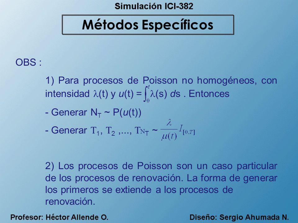 OBS : 1) Para procesos de Poisson no homogéneos, con intensidad (t) y u(t) = (s) ds. Entonces - Generar N T ~ P(u(t)) - Generar T 1, T 2,..., T N T ~