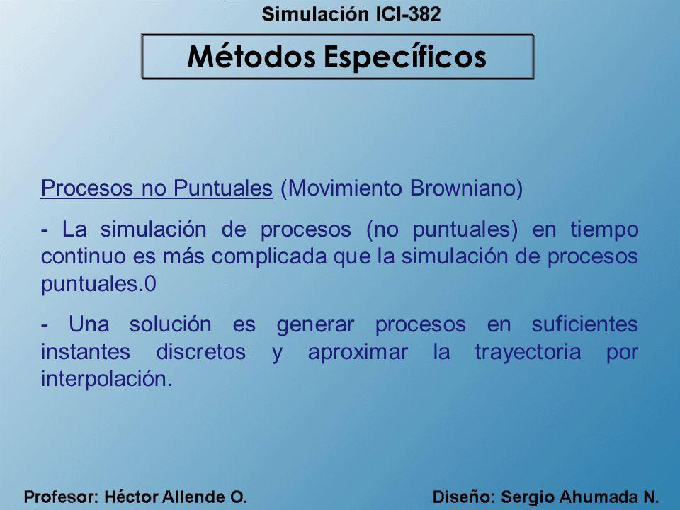 Procesos no Puntuales (Movimiento Browniano) - La simulación de procesos (no puntuales) en tiempo continuo es más complicada que la simulación de proc