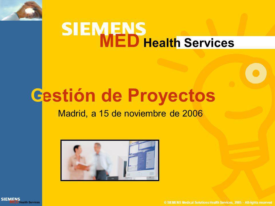 © SIEMENS Medical Solutions Health Services, 2005 – All rights reserved11 de 36 Gestión de Proyectos MED HS Modelo Conceptual Hospital ADM,URG, CEX, ACH, LEQ, QUI Administración S.Centrales Especialista ADM,URG, CEX, ACH, LEQ, QUI A.