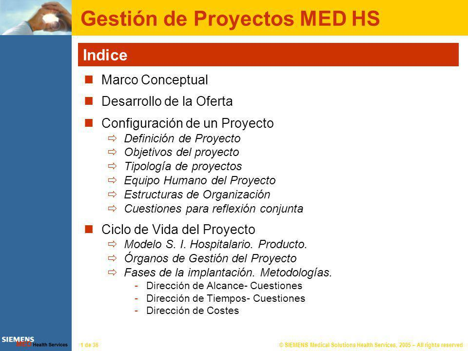 © SIEMENS Medical Solutions Health Services, 2005 – All rights reserved1 de 36 Gestión de Proyectos MED HS Indice Marco Conceptual Desarrollo de la Of