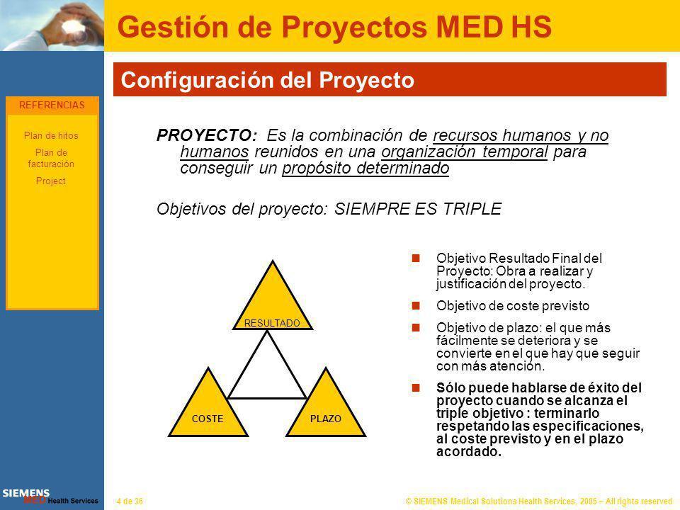 © SIEMENS Medical Solutions Health Services, 2005 – All rights reserved4 de 36 Gestión de Proyectos MED HS Configuración del Proyecto PROYECTO: Es la