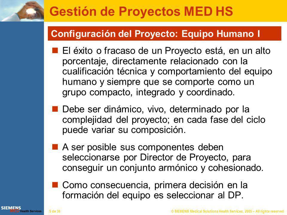 © SIEMENS Medical Solutions Health Services, 2005 – All rights reserved6 de 36 Gestión de Proyectos MED HS Configuración del Proyecto: Equipo Humano I I Figura del Director de Proyecto: Debe tener cualidades de lider.